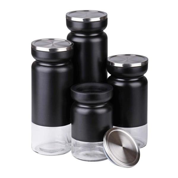 Zestaw 4 pojemników Black Steel