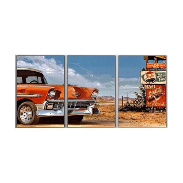 Trzyczęściowy obraz Retro Car, 45x90 cm
