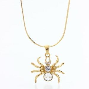 Naszyjnik ze Swarovski Elements, złoty pająk