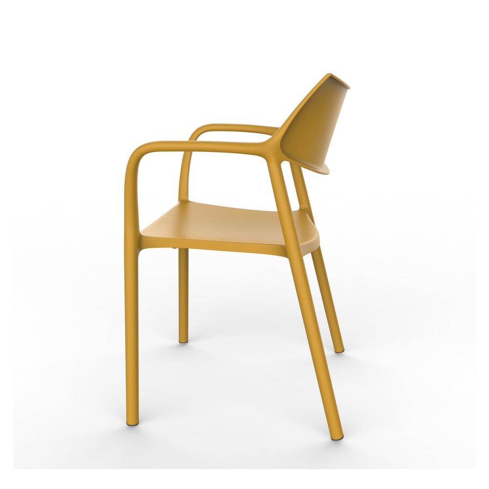 Zestaw 2 żółtych krzeseł ogrodowych z podłokietnikami Resol Splash
