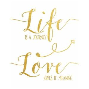 Plakat w drewnianej ramie Life is journey, 38x28 cm