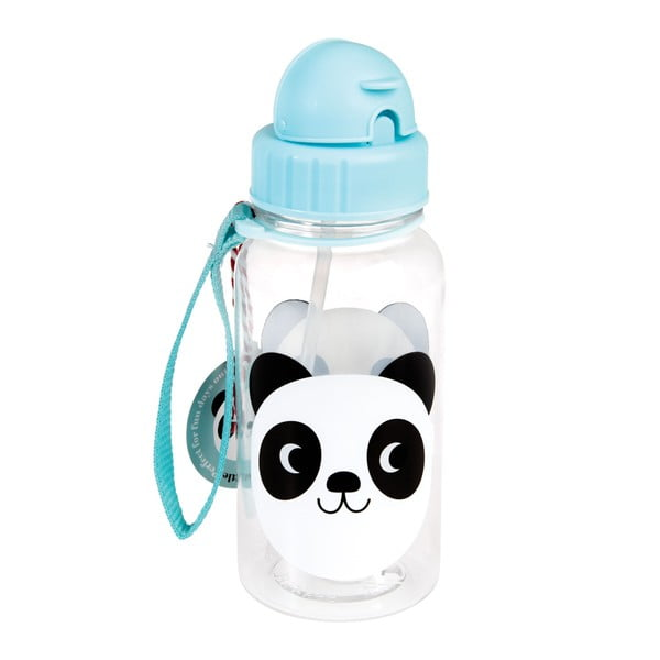 Niebieska butelka dziecięca ze słomką Rex London Miko The Panda, 500ml