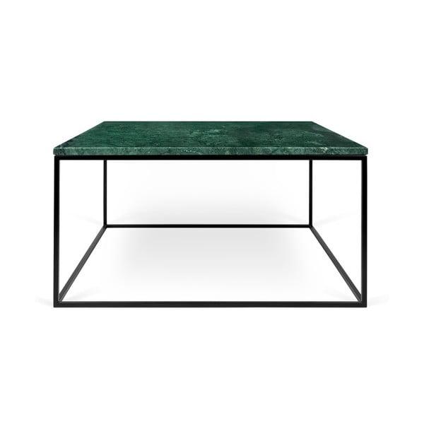 Zielony stolik marmurowy z czarnymi nogami TemaHome Gleam, 75 cm
