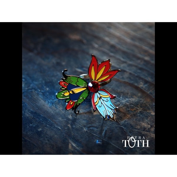 Pierścionek Kwiaty, kolorowy
