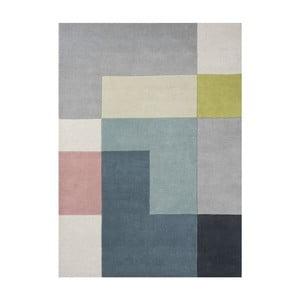 Wełniany dywan Tetris Lime, 140x200 cm