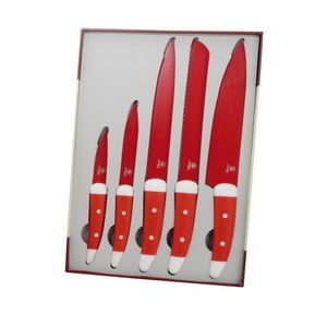 Zestaw 5 czerwonych noży Laguiole Julien