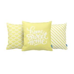 Zestaw 3 poduszek Home Sweet Home, 43x43 cm, žlutá