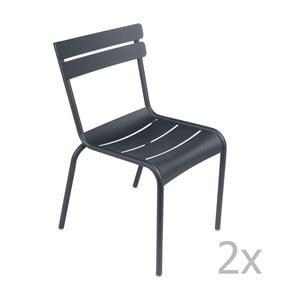 Zestaw 2 antracytowych krzeseł Fermob Luxembourg