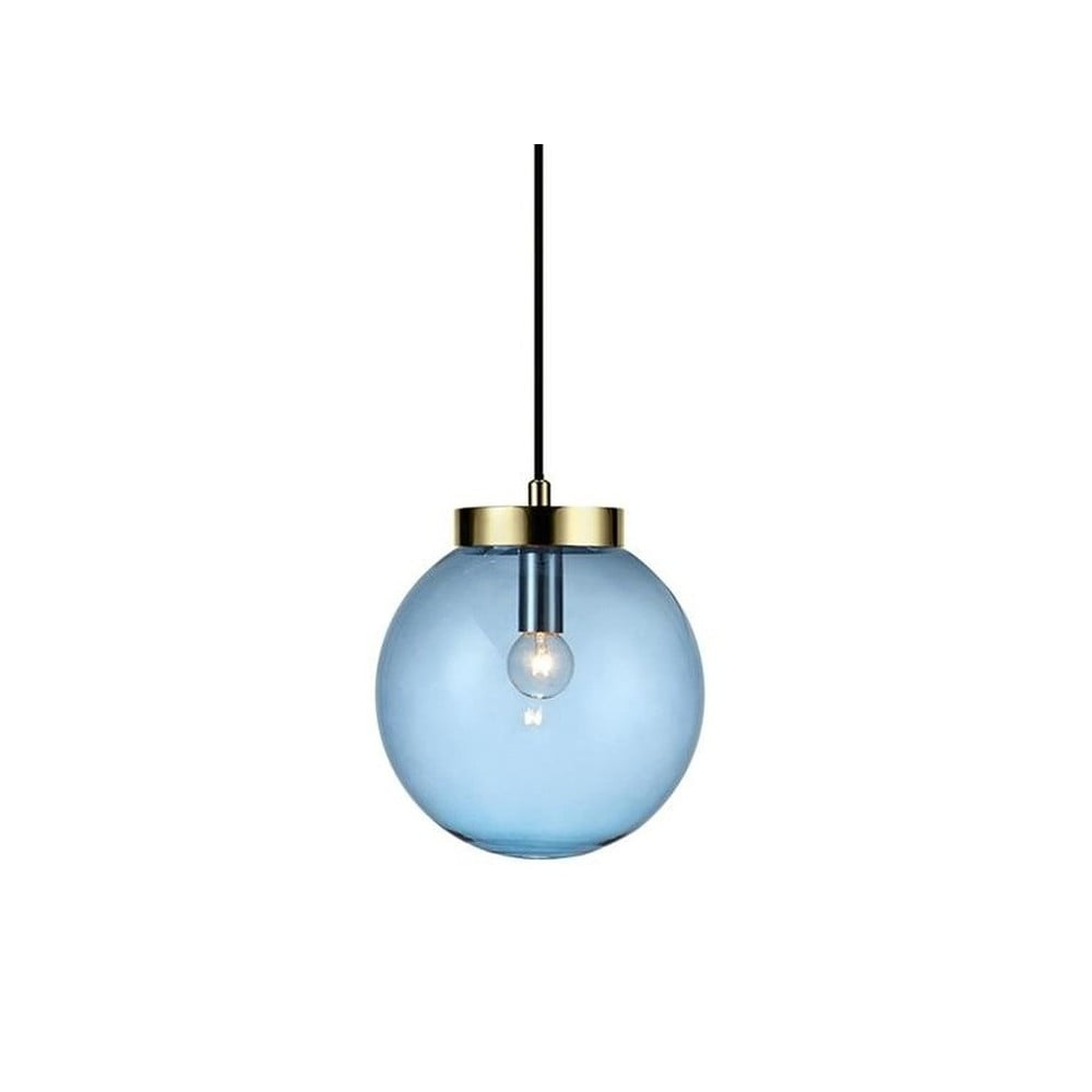 Niebieska lampa wisząca z detalem w kolorze złota Markslöjd Ball Two, ⌀ 22 cm