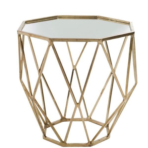 Złoty stolik z lustrzanym blatem Geometry, Ø55 cm