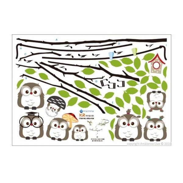 Zestaw naklejek Ambiance Owls Singing on Tree