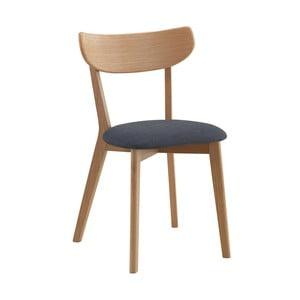 Naturalne krzesło dębowe z szarym siedziskiem Folke Sylph