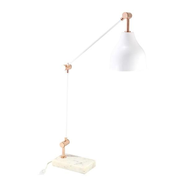 Lampa stołowa, biel/miedź
