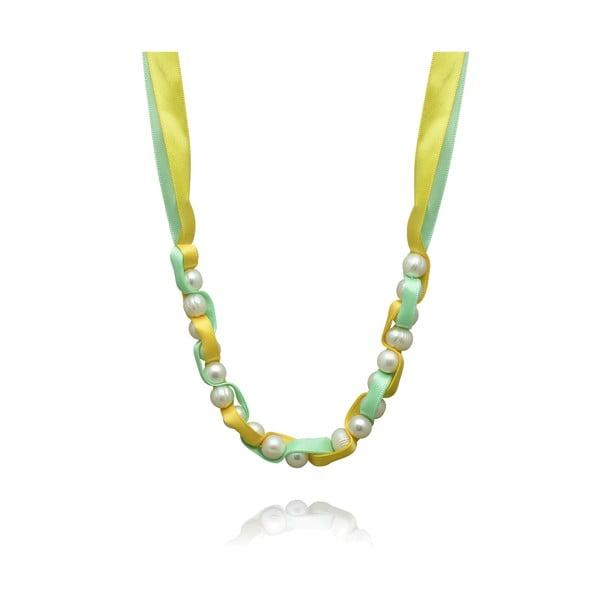 Naszyjnik perłowy na zielonej wstążce Nova Pearls Copenhagen Mara de Vida