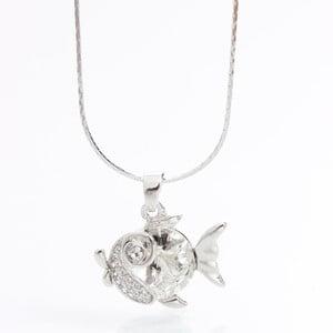 Naszyjnik ze Swarovski Elements, biała rybka
