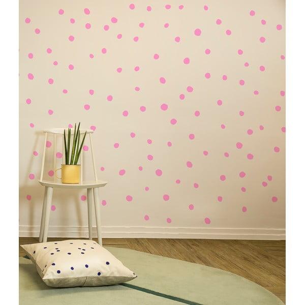 Naklejki Polka Dots, różowe