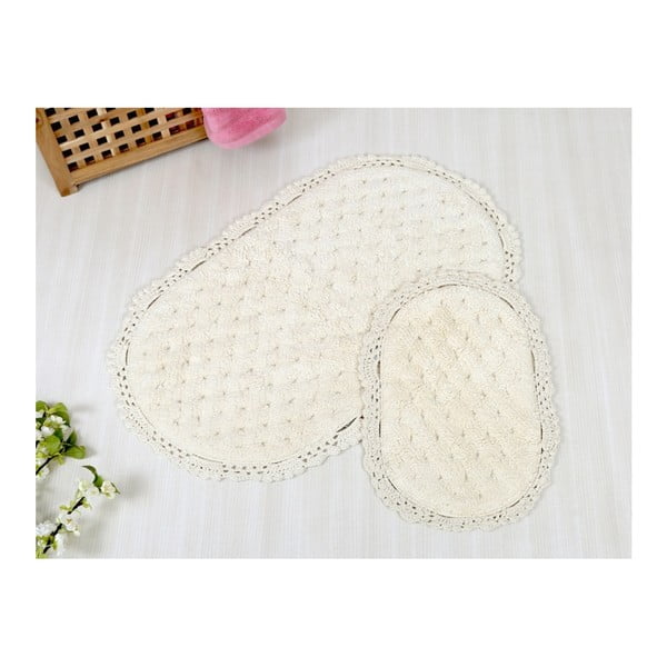 Zestaw 2 kremowych dywaników łazienkowych Irya Home Pamuk, 60x100 cm i 40x60 cm