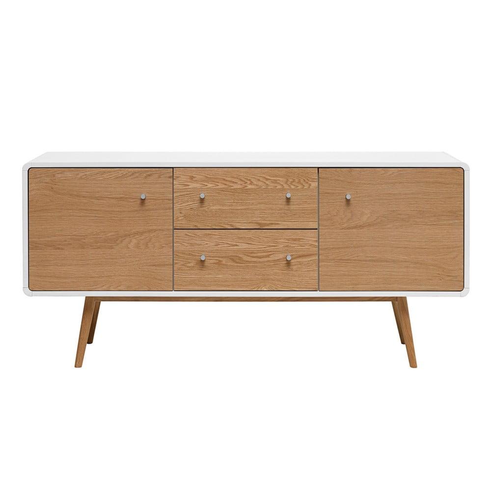 Niska komoda z drewna białego dębu Unique Furniture Turin