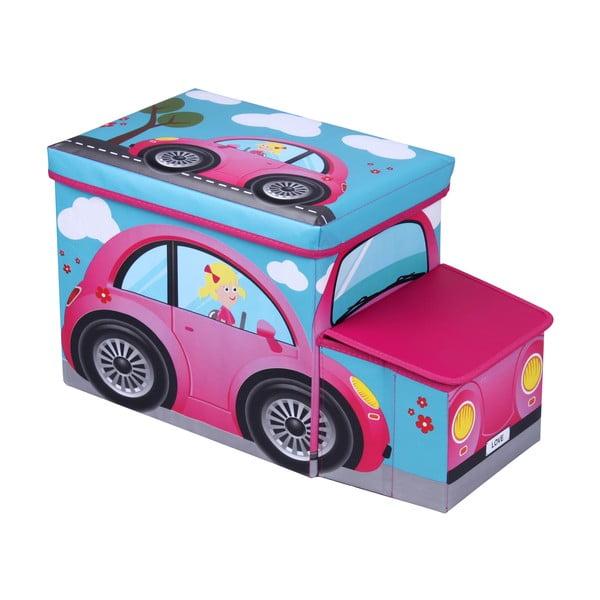 Dziecięcy puf ze schowkiem JOCCA Pink Car