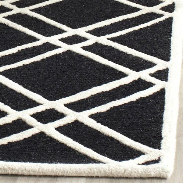 Dywan wełniany Mati Black, 152x243 cm