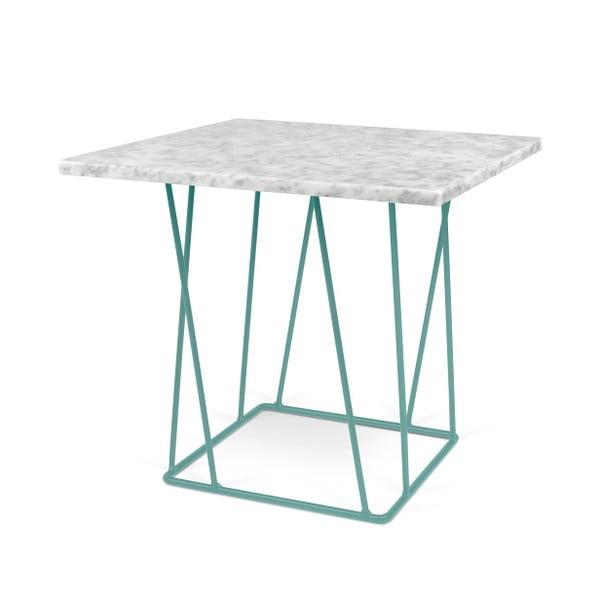 Biały stolik marmurowy z zielonymi nogami TemaHome Helix, 50 cm