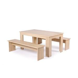 Stół z 2 ławkami w kolorze dębu Intertrade München, 160cm
