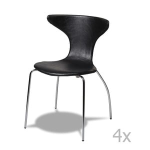 Zestaw 4 czarnych krzeseł Furnhouse Suki