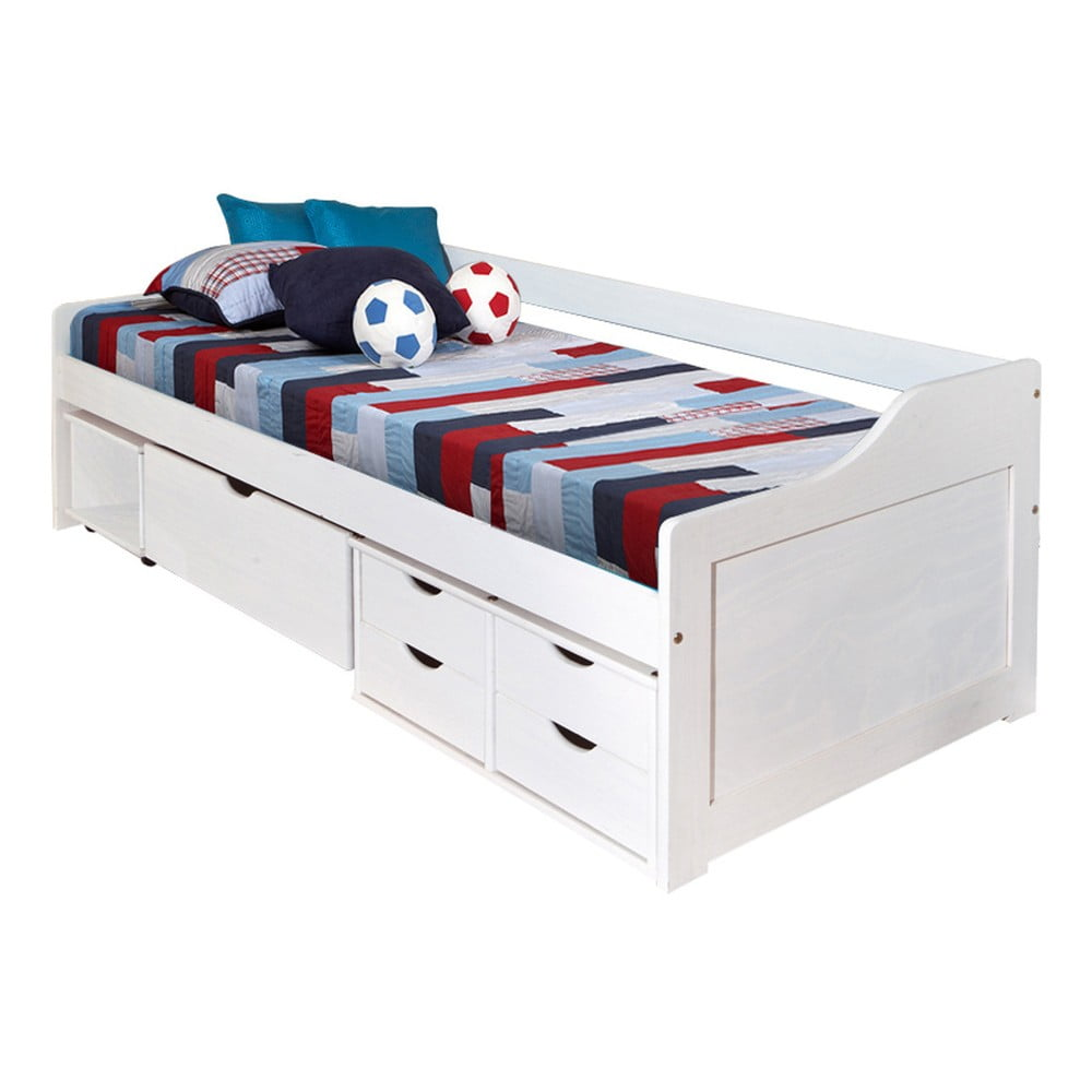 Białe Drewniane łóżko Jednoosobowe Ze Schowkiem 13casa Tetris 90x200 Cm Bonami