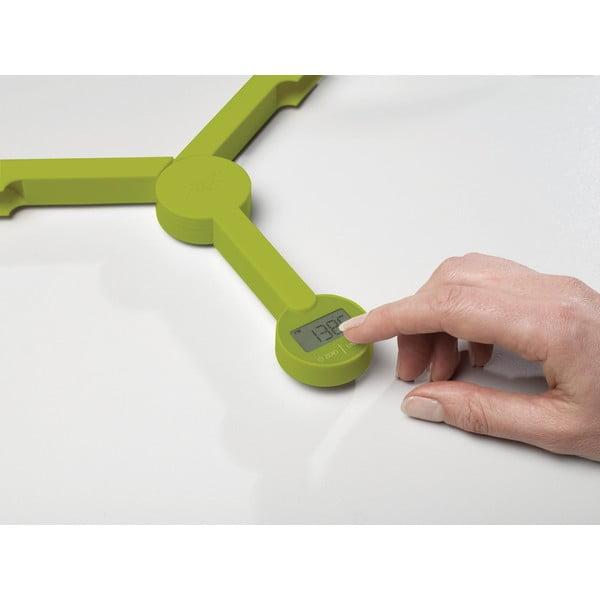 Zielona cyfrowa waga składana Joseph Joseph TriScale