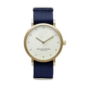 Zegarek unisex z niebieskim paskiem South Lane Stockholm Sodermalm Gold Big