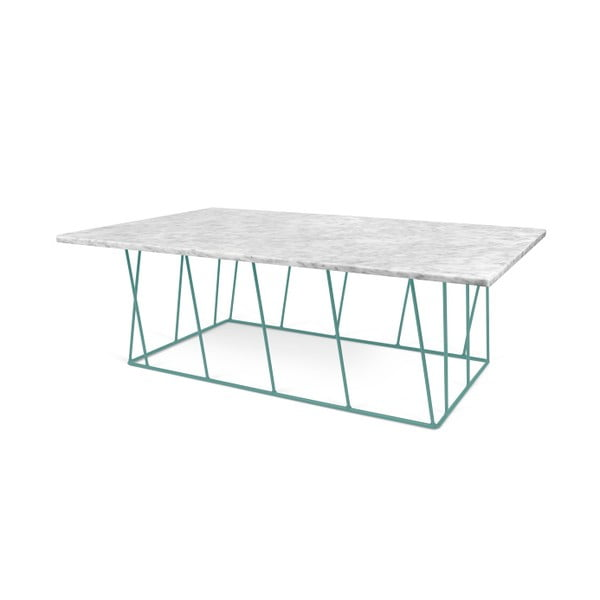 Biały stolik marmurowy z zielonymi nogami TemaHome Helix, 120 cm