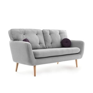 Jasnoszara sofa trzyosobowa z fioletową poduszką VIVONITA Malva