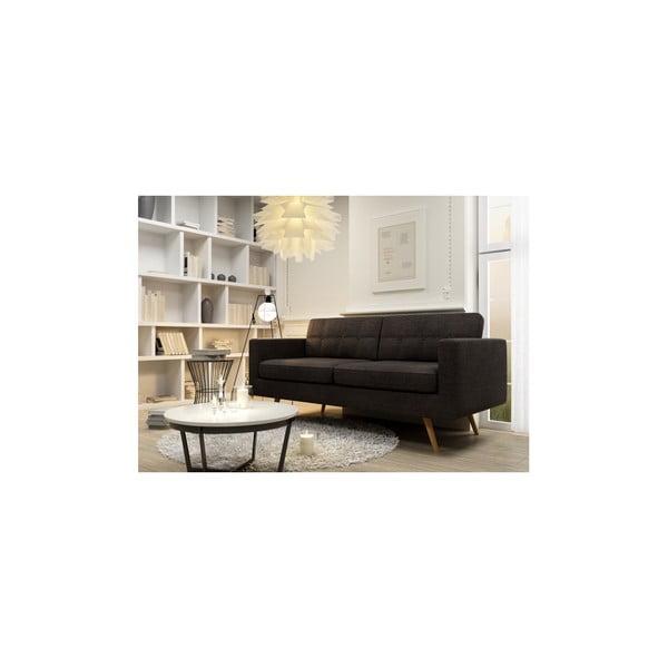 Sofa trzyosobowa York Lino, ciemnobrązowa
