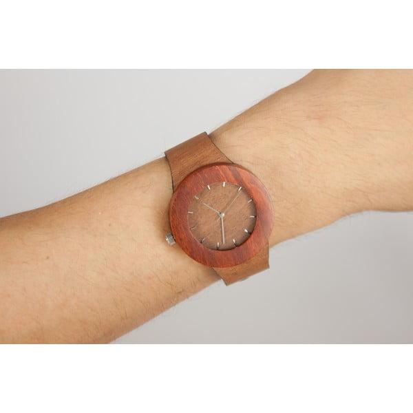 Drewniany zegarek z zaznaczonymi godzinami (kreski) Analog Watch Co. Makore