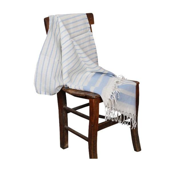 Jasnoniebieski ręcznik hammam Aqua Light Blue, 90x190cm