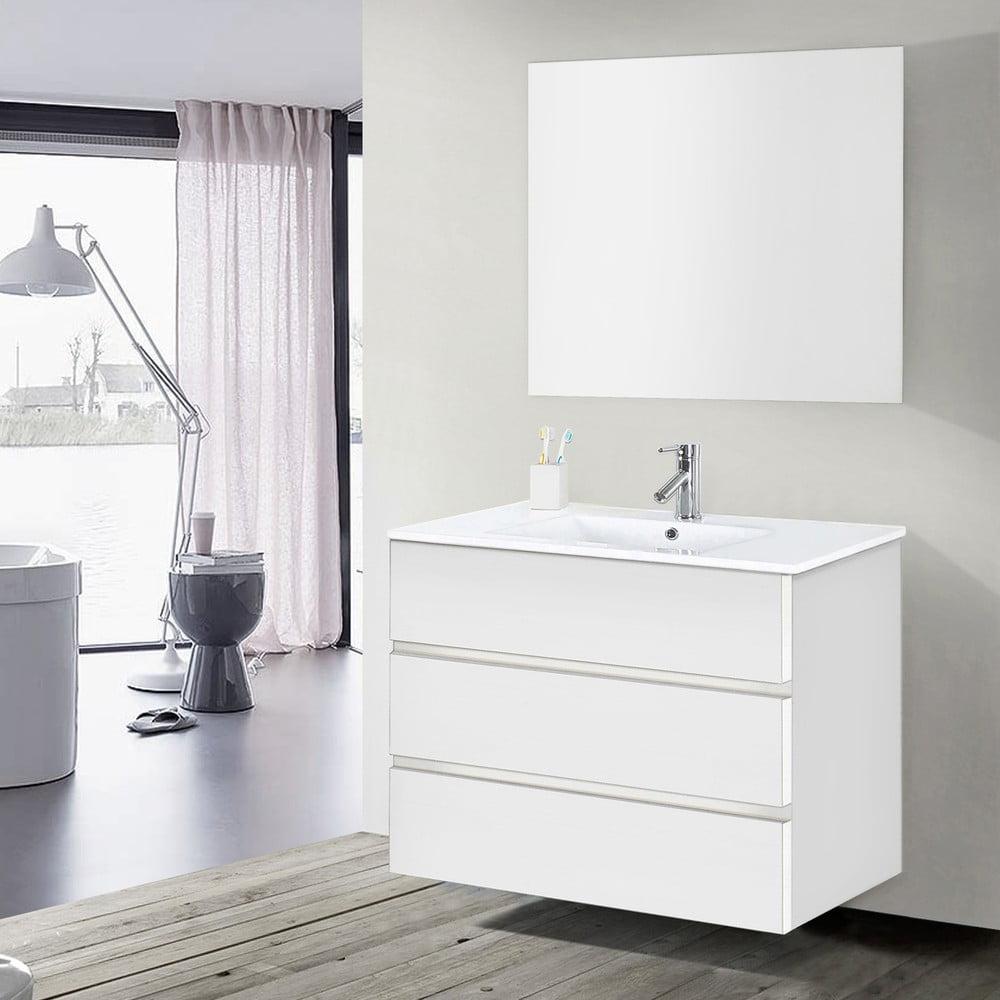 Szafka Do łazienki Z Umywalką I Lustrem Nayade Odcień Bieli 100 Cm Bonami