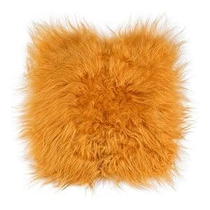 Pomarańczowa poduszka futrzana do siedzenia z długim włosiem, 37x37 cm