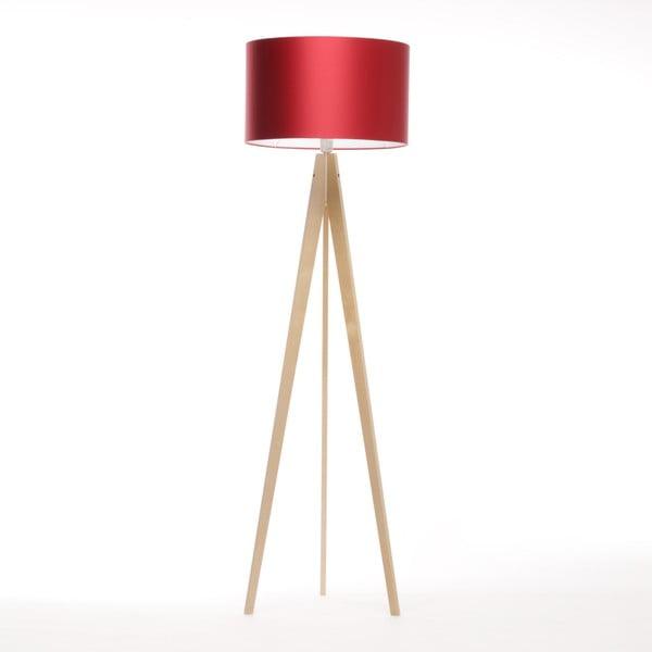 Czerwona lampa stojąca Artista, naturalna brzoza, 150 cm