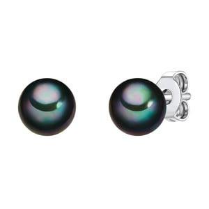Perłowe kolczyki Muschel, antracytowa perła 6 mm