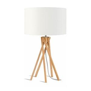 Lampa stołowa z białym kloszem i konstrukcją z bambusa Good&Mojo Kilimanjaro