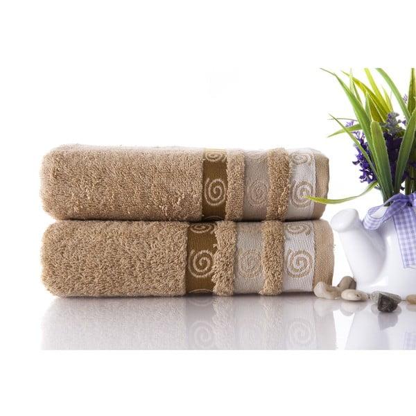 Zestaw 2 ręczników Truva Light Brown, 50x90 cm