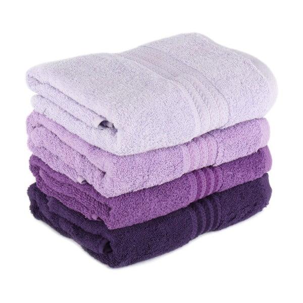 Zestaw 4 fioletowych ręczników Rainbow Violet, 70x140cm