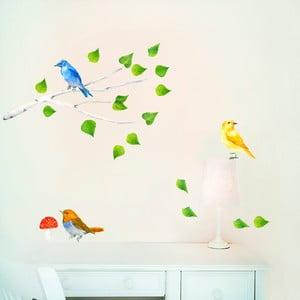 Naklejka wielokrotnego użytku Birds Branch, 47x26 cm