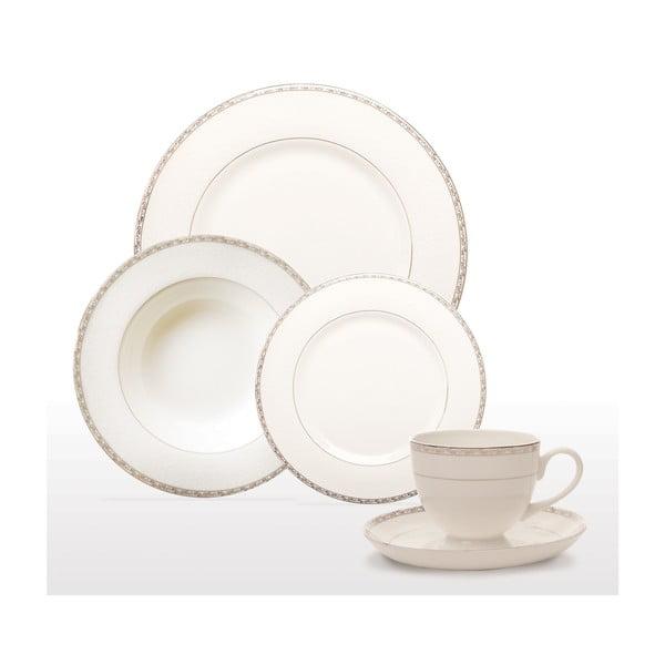 Komplet naczyń stołowych z porcelany kostnej Sabichi Platinum, 20 szt.