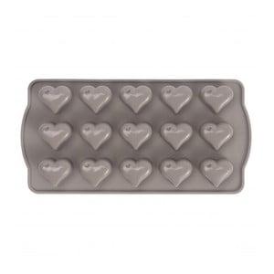 Szara forma silikonowa na czekoladki w kształcie serca Sabichi Cone