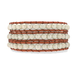 Pomarańczowo-biała bransoletka skórzana Nova Pearls Copenhagen Néreus