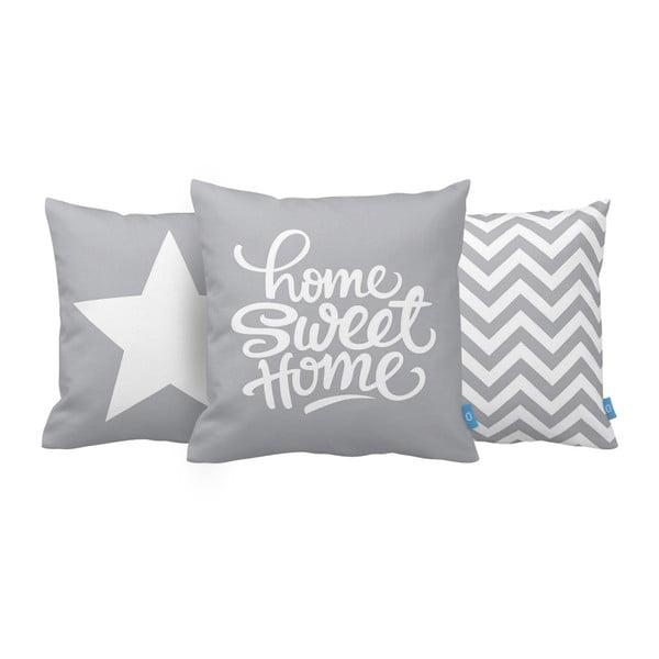 Zestaw 3 poduszek Home Sweet Home, 43x43 cm, šedá