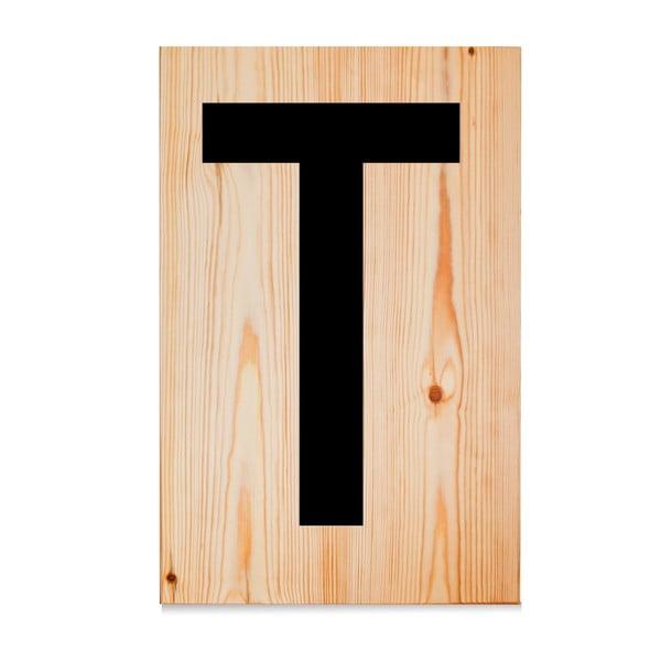 Drewniana tabliczka Letters T