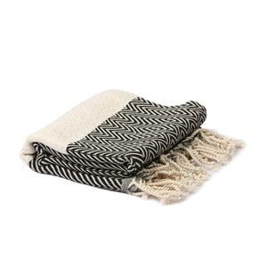 Czarno-biały ręcznik hammam Spa Time Zig, 95x180cm