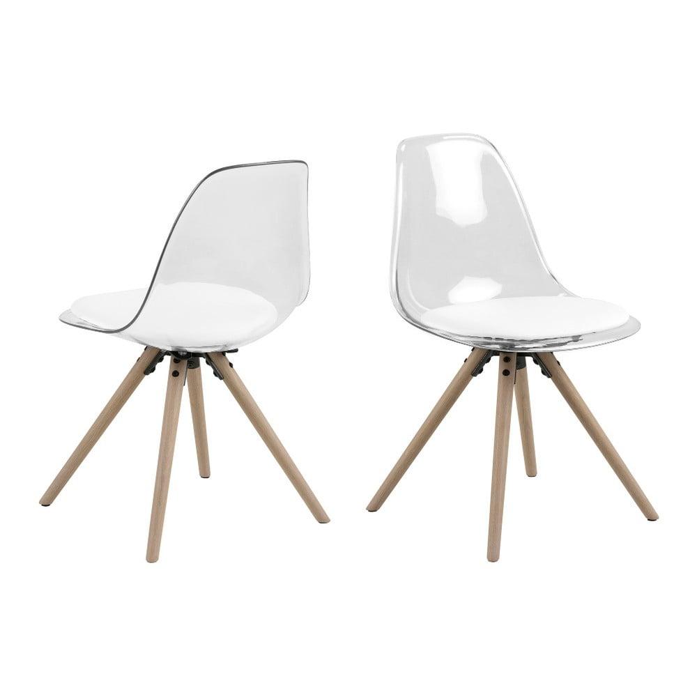 Przezroczyste krzesło z konstrukcją z drewna dębowego Actona Henning